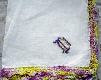 "Vintage White linen Hanky/Handkerchief with Purple and  Gold  ""D"" Monogram Purple & Gold  Crocheted Edge"