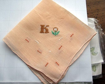 """Vintage Tan  Linen Hanky/handkerchief  with monogram """"K"""" and embroidered flower"""
