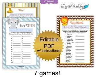 DIY editable printable baby shower games package PDF (No.3) boy jungle animals - word search scramble bingo price purse Digital File