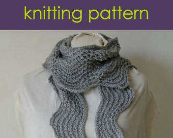 Ripple Stitch Knitting Pattern Scarf : Old shale Etsy