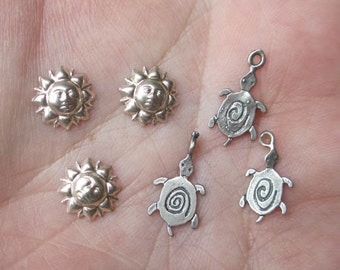 Sterling Silver Sun/Moon Face or Tortoise Charm