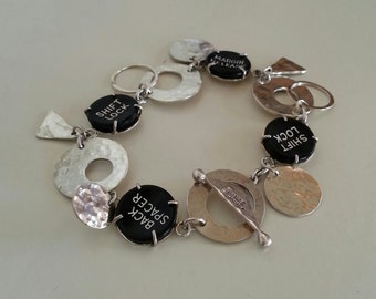 Typewriter Key Bracelet in Sterling Silver