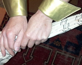 Ladies Metallic Matte Gold Leather Vamp Wrist Cuffs