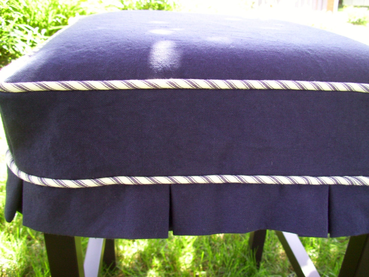 Barstool Cover Navy Canvas and Ticking Stripes Square Bar