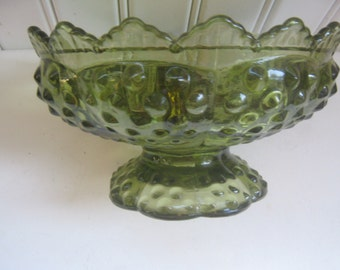 Vintage Candle Holder Green Glass Bowl Hobnail