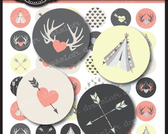 Arrows and Tee Pees 1 Inch Round Circles for stickers, coasters, tags, pendants, cupcake toppers, pins and more