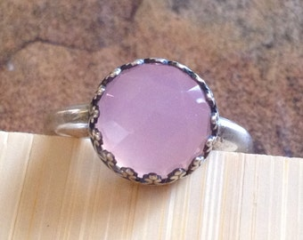 Faceted Rose Pink Chalcedony Sterling Silver Filigree Ring - Size 7 Ring