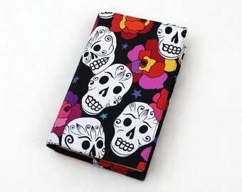 Paperback Book Cover White Sugar Skulls on Black Fabric with Roses, Day of the Dead, Dia de Los Muertos, Mass Market Size Only - Last One!