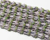 "4.5"" Glass STRAND - Lampwork Glass Beads - Lavender and Light Plum Rose Buds (4.5"" strand - 10 beads) - str851"
