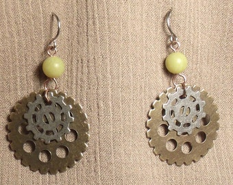 Steampunk gear earrings, mixed metals, olive new jade bead. 061426
