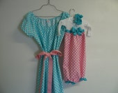 Private listing for Loren LaFave only  Boutique Aqua Blue Maternity and Delivery Gown Set