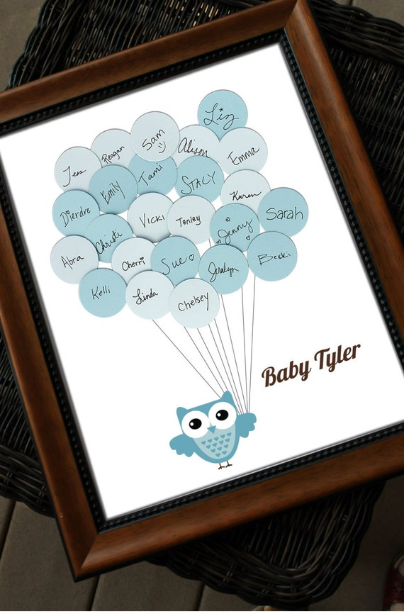 Unique Baby Shower Guest Book Print Owl with Balloons for