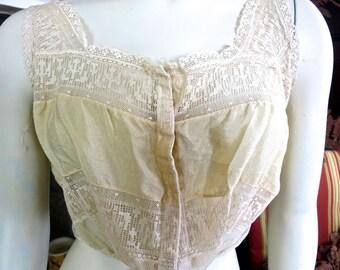 1920s Flapper Era Antique Boudoir Silk & Lace Camisole Corset Cover Exquisite 34 Bust