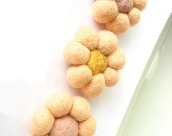 Apricot felted wool flowers