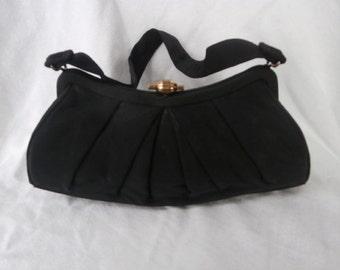 Black Evening Bag/Purse- 1950's Pleated  Design Top Handle Purse ~ Womens  Vintage Purse