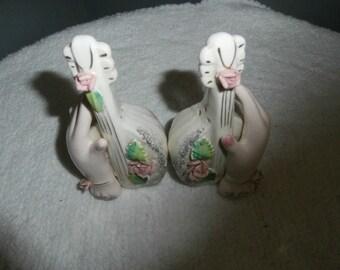 Salt & Pepper Shakers Porcelain Hands  Pink Roses White Mandolins - White Mandolins