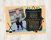 Ice Hockey Themed Birthday Invitation- Print Your Own