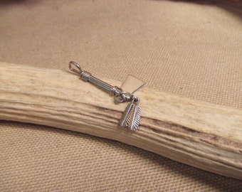 Native American  sterling silver.pendant  Tomahawk  with feathers  ethnic jewelry -- ( FREE SHIPPING SALE)