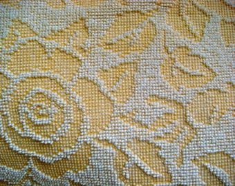 Yellow Cabbage Roses Vintage Chenille Bedspread Fabric by Fieldcrest 18 x 24 Inches