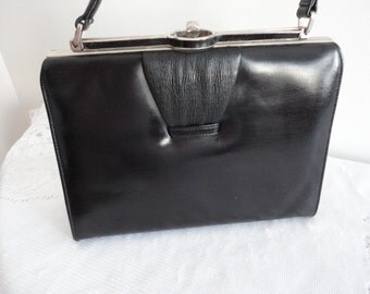 Vintage Genuine Leather Black Purse 60s Paragon Made in Canada