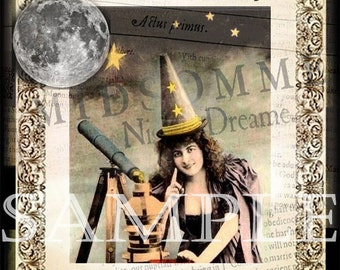 Star Witch,  Digital Graphic Instant Download, witch witchcraft wiccan Halloween collage