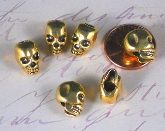 Bulk 25 Gold Skulls beads verticle Large 4mm Top Hole Skull Beads 12mm 3D - fits LG Chain Cord (P1389 -25)