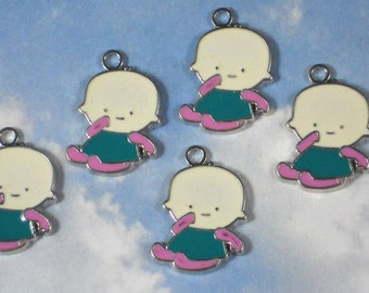 5 Adorable Baby Charms Enamel & Silver Tone (P1643)