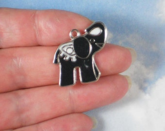 5 Elephant Charms Black Enamel & Silver Tone Trunk Raised Up Pendants Good Luck (P1675)
