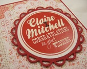 MADE TO ORDER - Personalised Red/White Engagement/Wedding Congratulations Greeting Card