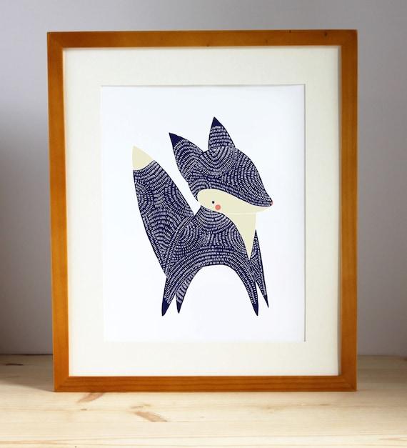 Baby Animal Nursery Art Prints, January Fox nursery decor, fox - woodland animal, woodland fox childrens art, fox art, fox kid room