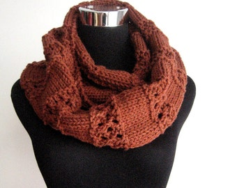 Rustic Heather Lace Striped Infinity Scarf, The Stacey Scarf,  Brown Knit Circle Scarf, Cowl Scarf, Knit Accessories, Womens Accessories