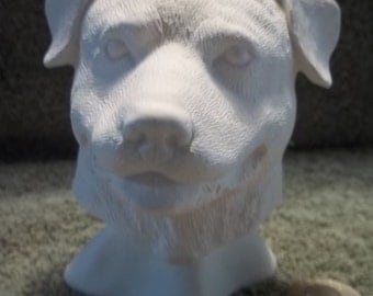 Rottweiler Dog Bust in Ceramic Bisque - Ready to Paint Rottweilers Dogs