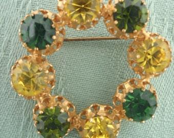 Rhinestone brooch, 1940's Circle brooch with lemon yellow and Green rhinestones