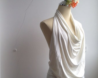 Backless Drape V neckHalter Blouse in Off white