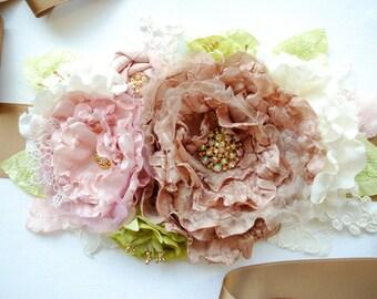 Brown Green Pink Bridal Sash Belt, Weddings Accessories, Brown Pink Wedding Sash Belt, Bridesmaids Sash, Maternity Belt, Photo Prop
