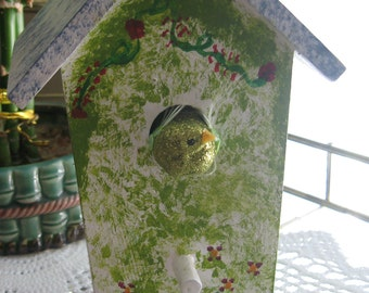 Decorative Bird House Hand Painted Wooden Bird House