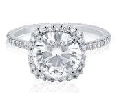 Round Cut Harry Winston Style Diamond Engagement Ring R135 with 8.5mm Moissanite center Stone