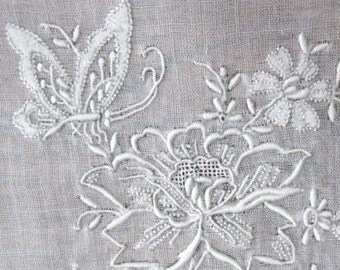 Vintage Wedding Handkerchief Embroidered Open White Work Batiste Floral Embroidery 1920s