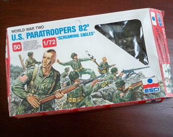 Vintage Toy US Paratroopers ESCI Plastic Soldiers Made in Italy Box