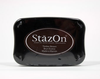 Tsukineko StazOn Solvent-Based Ink Pad in Timber Brown