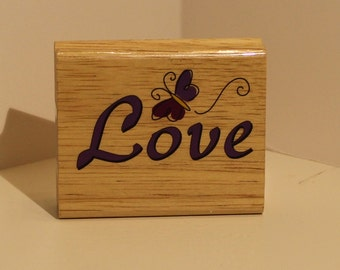 Love with Butterfly Rubber Stamp