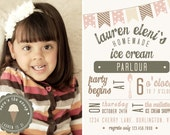 Ice Cream Shop Parlour Birthday Invitation YOU PRINT 4x6 or 5x7