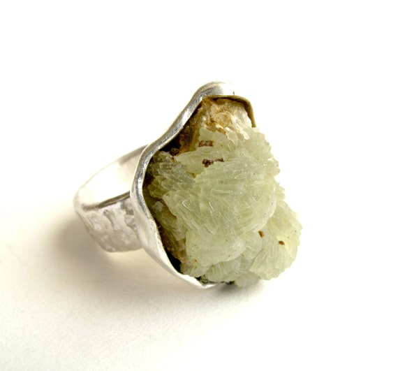 Prehnite Ring Sterling Silver Ring With Natural Raw Grass Green Prehnite