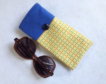 Sunglasses Case, large size glasses sleeve, yellow, blue and red cotton,  eyeglass cozy, soft case, gift for women