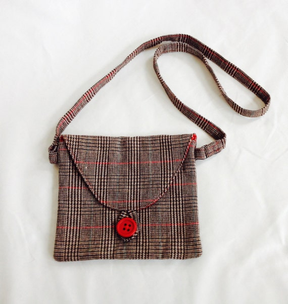 Cross Body Mini Hipster Bag - Brown and Red Tweed, purse, long strap, wool tweed, plaid, winter fashion, fall fashion, messenger bag