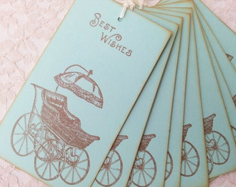 Baby Carriage Wish Tree Tags Mint Green Baby Shower Gender Reveal Boy or Girl Set of 25