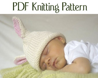 Baby Bunny Hat pattern, knit, Boston Beanies
