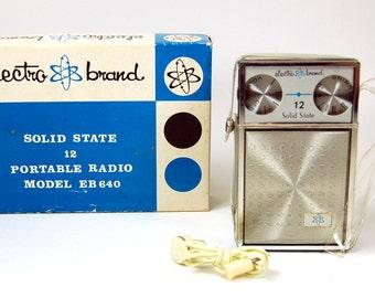 Electro Brand Solid State Transistor Pocket Radio NIB Atomic