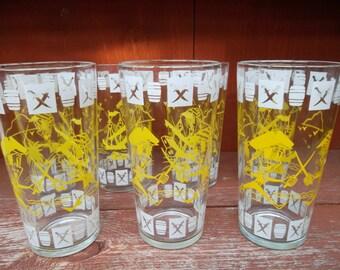 Hazel Atlas Pirate Swashbuckler Character 16 ounce Beverage Glass Set of 6 Superb