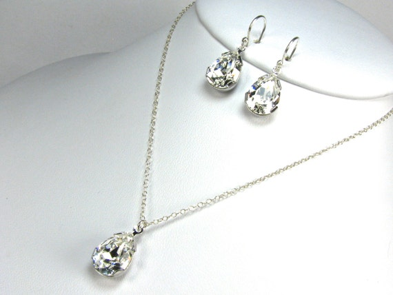 Bridal Jewelry Set Pear Shaped Rhinestone by TwoBeWedJewelry